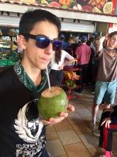 Darius drinking coconut milk