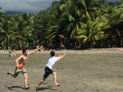 Playing football...