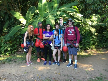 Mr. Farrell's group goes zip ling
